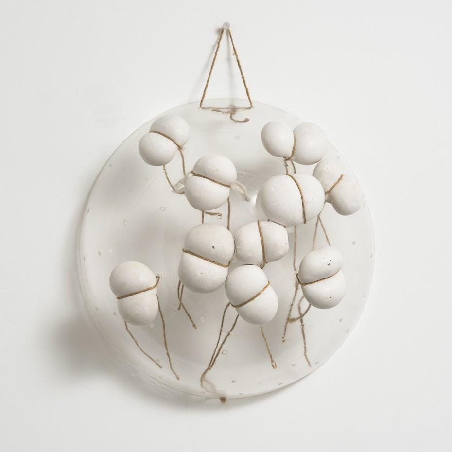 Maria Bartuszová  Untitled, 1987-88  Plaster, perspex, string  20.5 x 40.6 x 40.6 cm, 8 1/8 x 16 x 16 ins  Unique