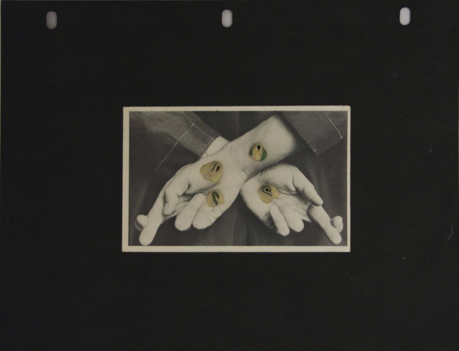 Hannah Wilke  Untitled (Fingers Crossed), c. mid 1970s  4 gum sculptures on postcard mounted on black paper  Paper size: 21.6 x 27.9 cms / 8 1/2 x 11 ins Framed: 27.5 x 34 cms / 10.8 x 13.4 ins