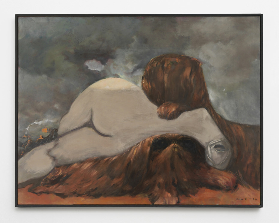 """Dorothea Tanning  Evening in Sedona, 1976  Oil on canvas  114 x 146 cm, 44 7/8 x 57 1/2 ins  Signed lower right """"Dorothea Tanning 76"""", inscribed on verso """"Le Soir à Sedona Dorothea Tanning 1976"""""""