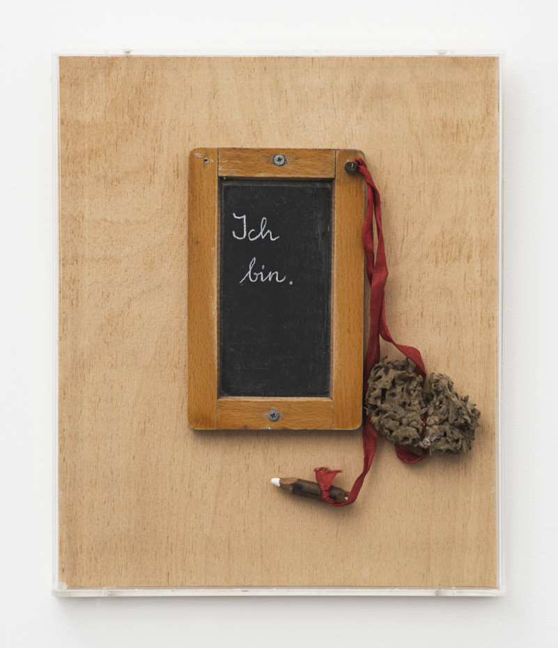 Birgit Jürgenssen  Ich bin. / I am., 1995  Blackboard, chalk and sponge mounted on wooden plate  30.9 x 25.5 x 3 cm, 12 1/8 x 10 1/8 x 1 1/8 ins  Signed & dated