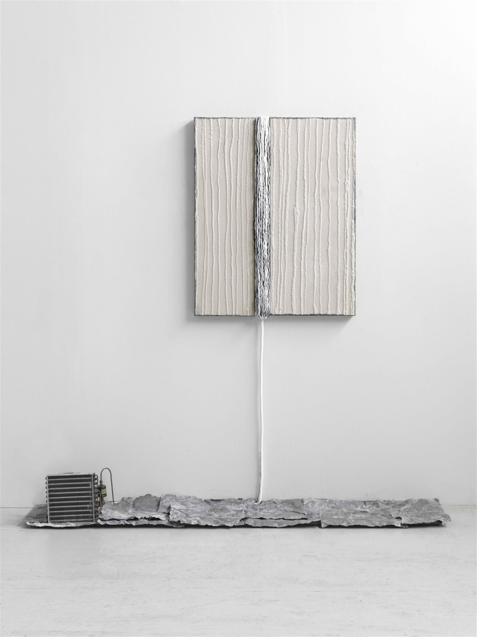 Pier Paolo Calzolari  Untitled, 1988  Salt, lead, refrigeration unit, refrigerator motor  245.1 x 259.7 x 55.2 cm 96 1/2 x 102 1/4 x 21 3/4 ins