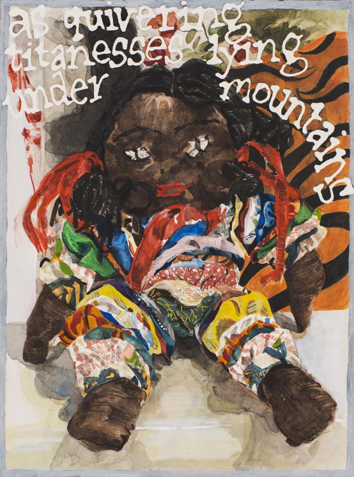 <div class=&#34;artist&#34;><strong>Jade Montserrat</strong></div><div class=&#34;title_and_year&#34;><em>Dolly Ribbons/Dolly Rhythms</em>, 2016</div><div class=&#34;medium&#34;>Watercolour, gouache, pencil, pencil crayon on paper</div><div class=&#34;dimensions&#34;>31 x 23.3 cm, 12 1/4 x 9 1/8 ins<br/> 42 x 34 cm, 16 1/2 x 13 3/8 ins framed</div>