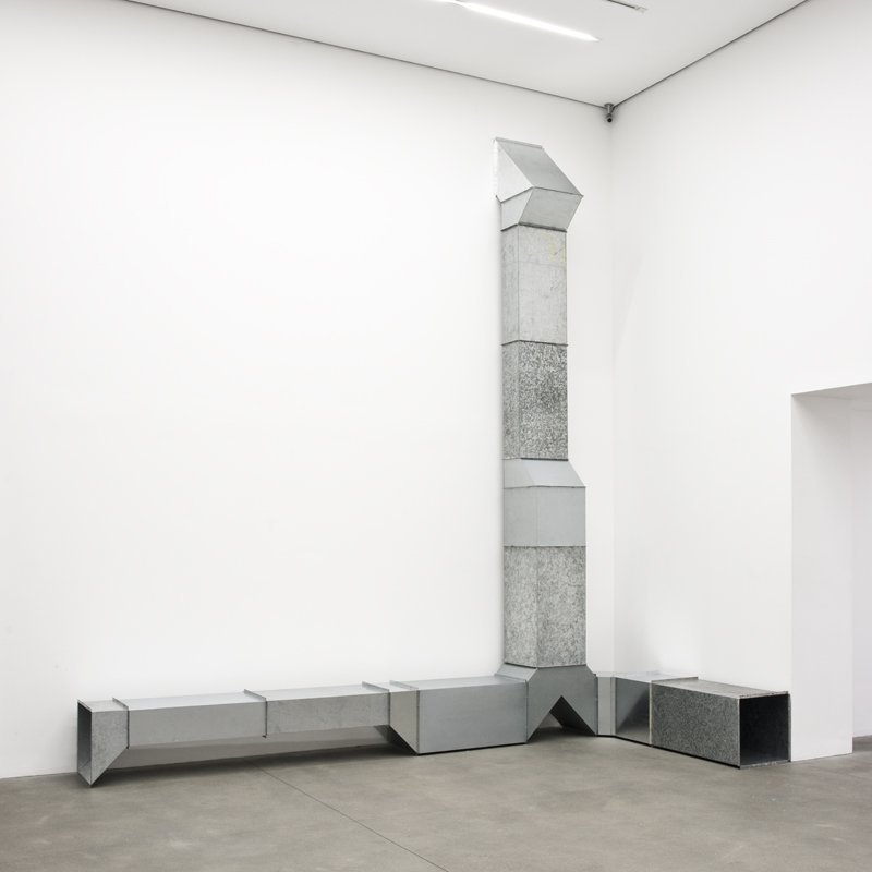 Charlotte Posenenske  Vierkantrohre Serie D (Square Tubes Series D), 1967-2014  16 elements, hot-dip galvanised sheet steel  Overall: 488 x 583 x 50 cm / 192 1/8 x 229 1/2 x 19 3/4 ins  Authorized Reconstruction Certified by the Estate