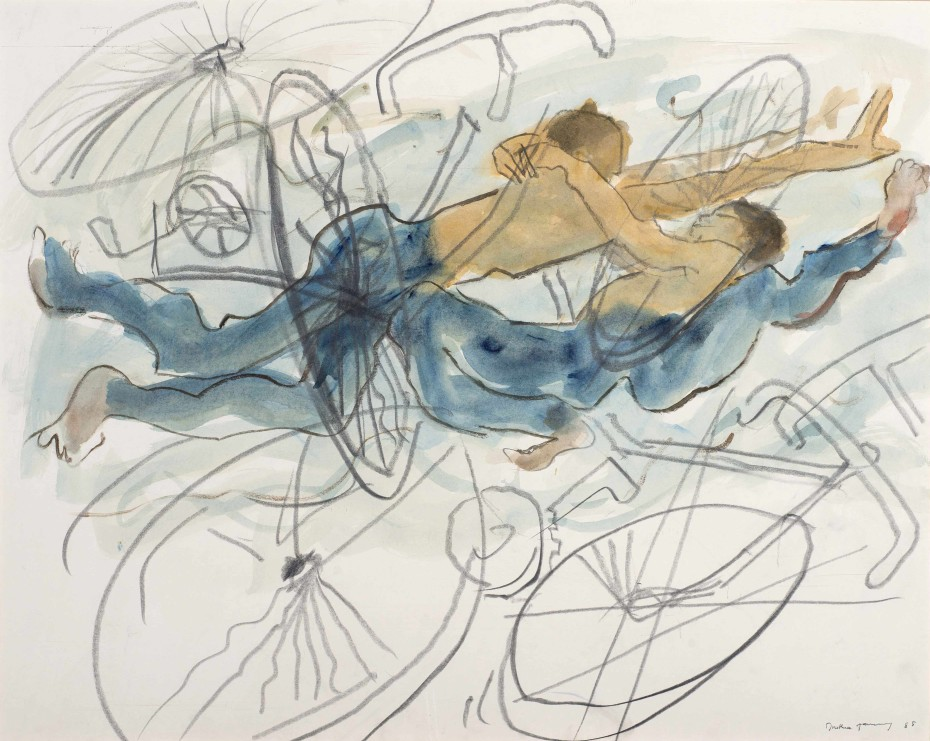 Dorothea Tanning Worlds in Collision, 1988 Watercolour and black crayon on board 78.8 x 98.4 cm, 31 x 38 3/4 ins Signed and dated on recto 'Dorothea Tanning 88' (lower right)