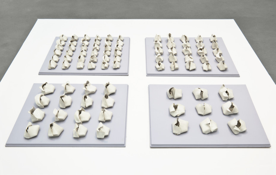 Hannah Wilke  Elective Affinities, 1978  86 white glazed porcelain ceramic sculptures, varying sizes  8.9 x 73.7 x 73.7 cms 3.5 x 29 x 29 ins each board  Unique  Signed