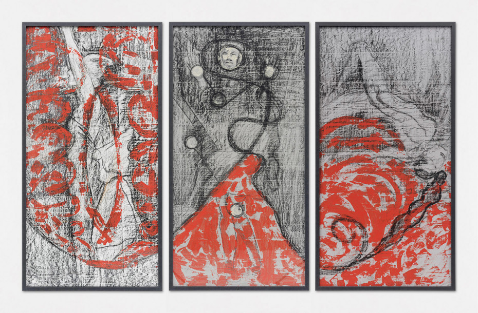 Birgit Jürgenssen  Three sources of nocturnal light (Angel, Moon, Torch), 1987  Acrylic paint and chalk on linen  173.4 x 89.6 cm, 68 1/4 x 35 1/4 ins, each panel  173.4 x 277.8 cm, 68 1/4 x 109 3/8 ins, overall, framed