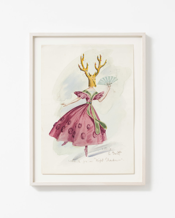 "Dorothea Tanning Costume for ""Night Shadow"": A Guest, 1945 Watercolour and wash on paper 35.3 x 25.1 cm, 13 7/8 x 9 7/8 ins 41.8 x 31.4 cm, 16 1/2 x 12 3/8 ins, framed Signed lower right ""D. Tanning"" Inscribed lower centre ""Costume for Night Shadow"""