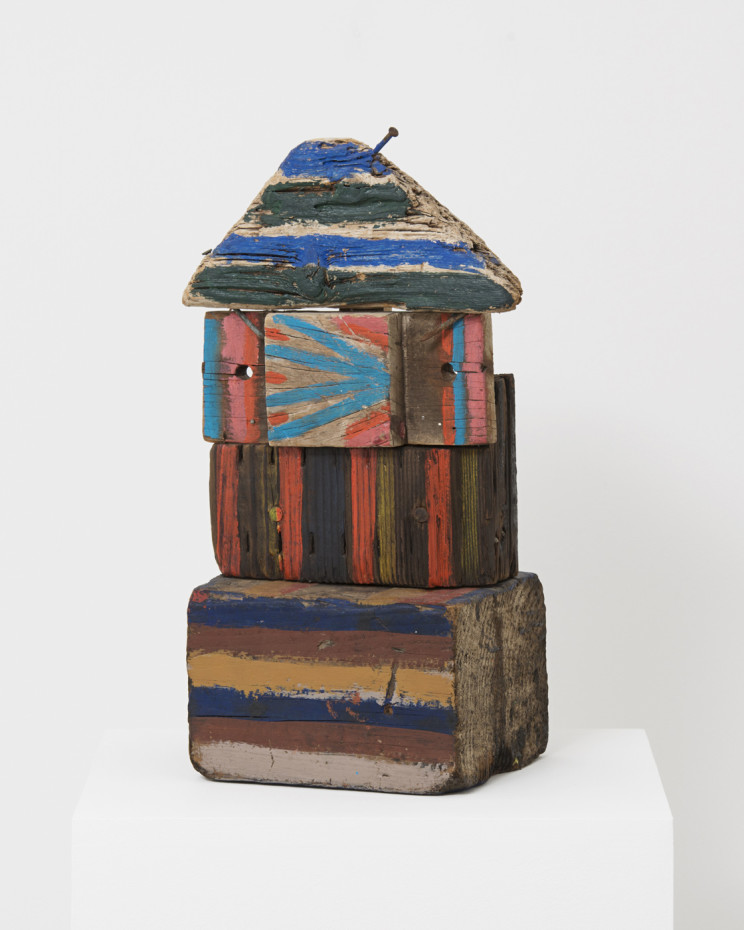 Betty Parsons  Block House, 1970-1979  Oil, wood and mixed media assemblage  45.1 x 10 x 7.5 cm, 17 3/4 x 4 x 3 ins  Unique  Signed, titled and inscribed illegibly