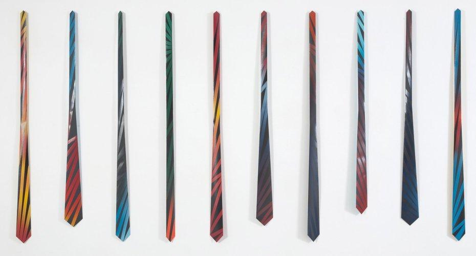 Carlos Amorales Carlos Amorales, Formal Formalism, 2011 10 spray painted ties, paper and cardboard 340 x 145 cm (AG.CA.11.7353)