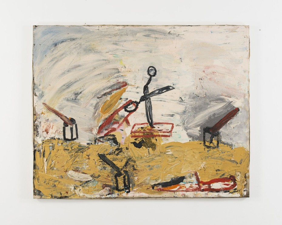 Roy Oxlade, Kitchen Knife and Scissors, 1986. Oil on canvas. 121.2 x 151.2 cm, 47 5/8 x 59 1/2 ins, 123.8 x 153.8 cm, 48 3/8 x 60 1/2 ins, framed. © Estate of Roy Oxlade
