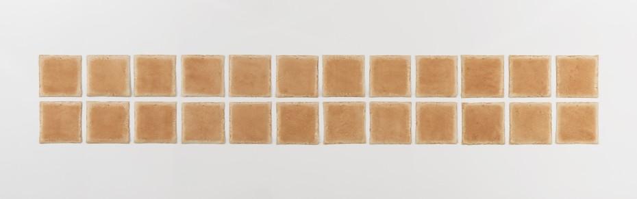 <div class=&#34;title&#34;><em>Tomkins Cove, NY</em>, 1977-78</div><div class=&#34;medium&#34;>Earth on muslin-mounted rag paper</div><div class=&#34;dimensions&#34;>30.5 x 30.5 cm, 12 x 12 ins, each (24 units)<br />129.5 x 195.6 cm, 51 x 77 ins overall</div><div class=&#34;dimensions&#34;>&#169; Michelle Stuart</div>
