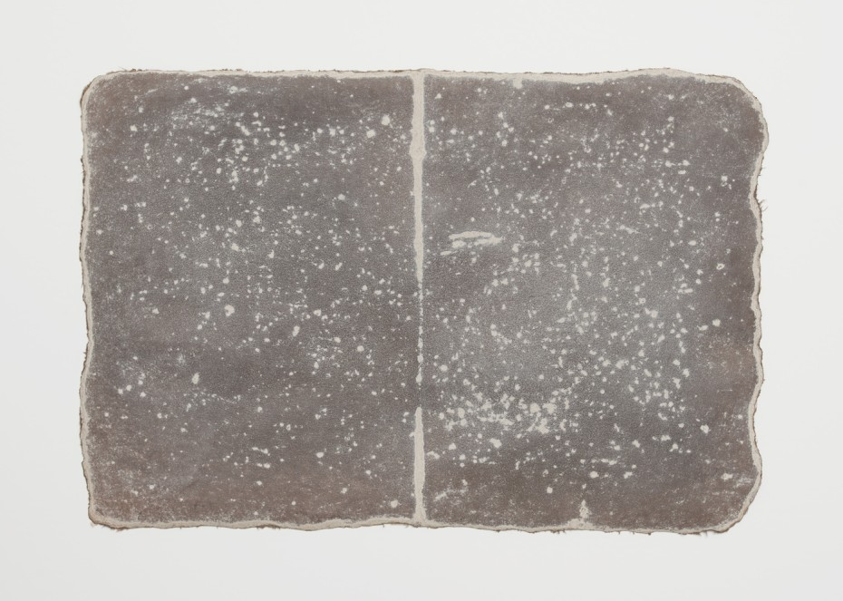 <div class=&#34;title&#34;><em>Small Ledger: Near White Horse of Uffington</em>, 1979-80</div><div class=&#34;signed_and_dated&#34;>earth from site on muslin-mounted paper</div><div class=&#34;medium&#34;>Rock marks, Sayreville earth, muslin-mounted rag paper</div><div class=&#34;dimensions&#34;>29.5 x 44.5 cm, 11 5/8 x 17 1/2 ins</div><div class=&#34;dimensions&#34;><div class=&#34;dimensions&#34;>&#169; Michelle Stuart</div></div>