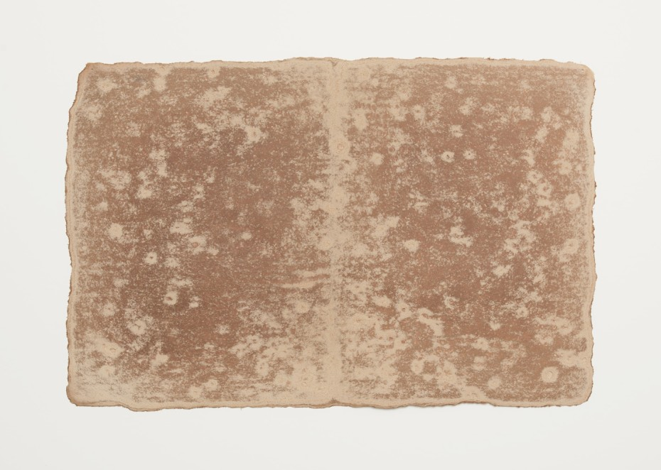 <div class=&#34;title&#34;><em>Small Ledger: Comoton, Guatemala</em>, 1980</div><div class=&#34;signed_and_dated&#34;>Earth from site on muslin-mounted rag paper</div><div class=&#34;medium&#34;>rock marks, Sayreville earth, muslin-mounted rag paper</div><div class=&#34;dimensions&#34;>29.8 x 45.1 cm, 11 3/4 x 17 3/4 ins</div><div class=&#34;dimensions&#34;>&#169; Michelle Stuart</div>
