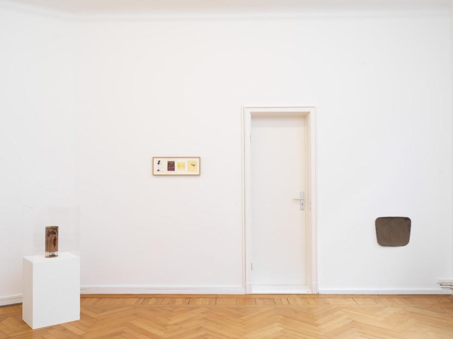 Installation view with Ian Kiaer, 'Tooth house, brown' (2015). © Ian Kiaer. Courtesy of Barbara Wien, Berlin. Photo: Nick Ash