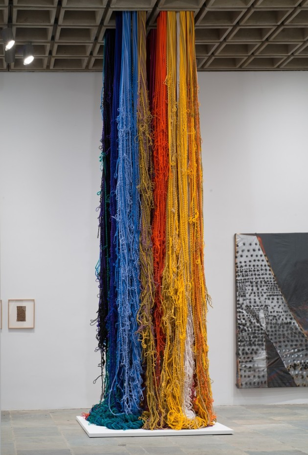 Sheila Hicks, Pillar of Inquiry/Supple Column, 2013–2014. (installation view, Whitney Museum of American Art, New York). © Sheila Hicks