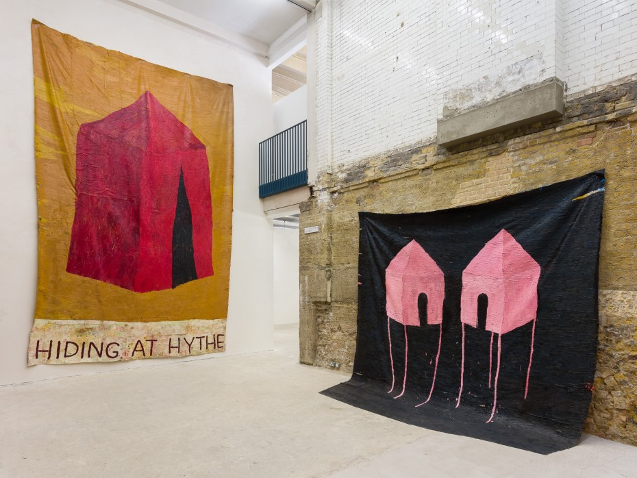 Installation view: The Greatest Song a Songbird Ever Sung, Goldsmiths CCA, 2020. Works from left to right: Hiding at Hythe, 2020 and The Greatest Song a Songbird Ever Sang, 2020. Photo: Mark Blower © Sophie Barber
