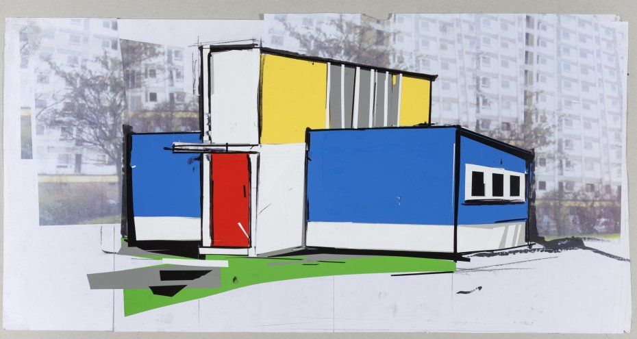 Erik van Lieshout, detail of 'Ministry of Subculture', 2012, installation of collages on paper