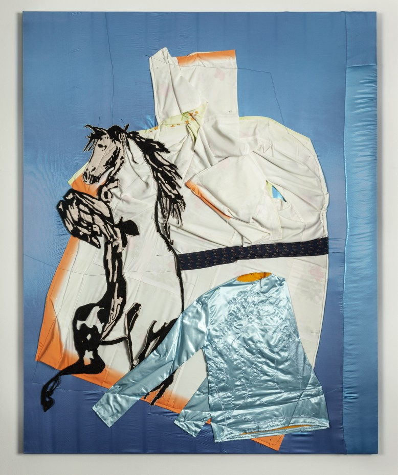 Wouter Paijmans  Horse on Kimono, 2018/2019  Polyester, fabric, silk kimono, handmade embroidered horse, black yarn, pinheads  200 x 160 cm