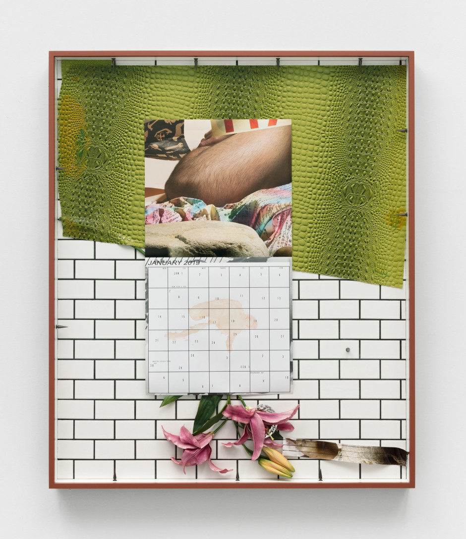 Cannibal II, 2018  archival pigment print, ceramic tile, stainless steel, artificial flower, acrylic paint, vinyl, epoxy  103.5 x 86.4 x 7 cm  40 ¾ x 34 x 2 ¾ in.