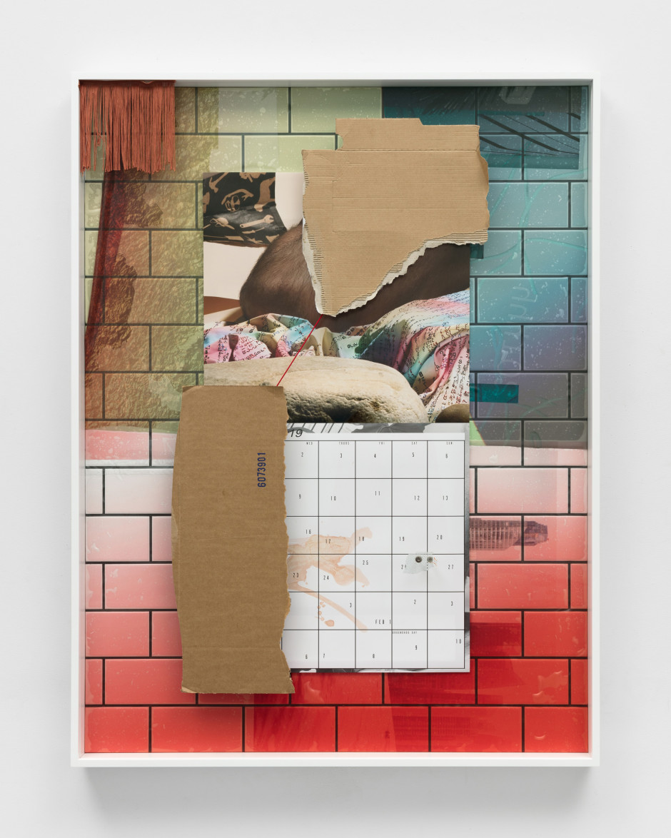 Cannibal, 2018  archival pigment print, solvent print on plastic, ceramic tile, stainless steel, rayon, cardboard, epoxy  113.3 x 86.4 x 7 cm  44 ⅝ x 34 x 2 ¾ in.