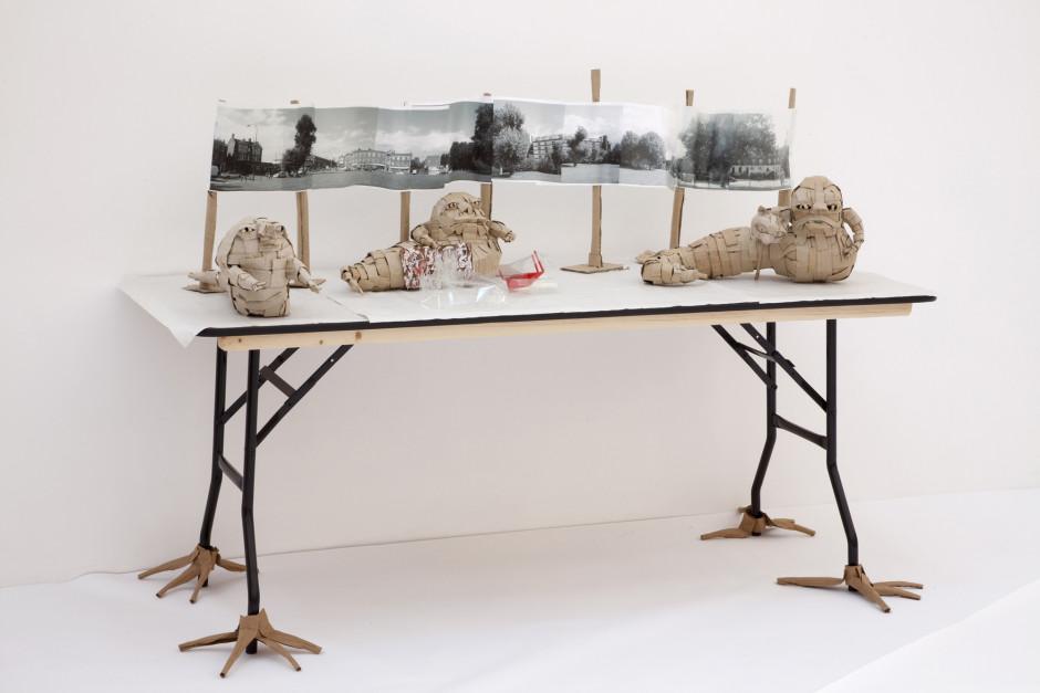 Jabba the Hut as property developer  cardboard, acetate, ink, paper, glue, table  125.1 x 166.4 x 76.0 cm 49 1/4 x 65 1/2 x 29 7/8 in.