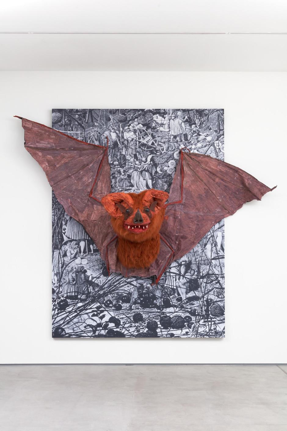 Bat, 2018  photocopies, wood, latex, fabric, paint  280 x 319 x 106 cm  110 ¼ x 125 ⅝ x 41 ¾ in.