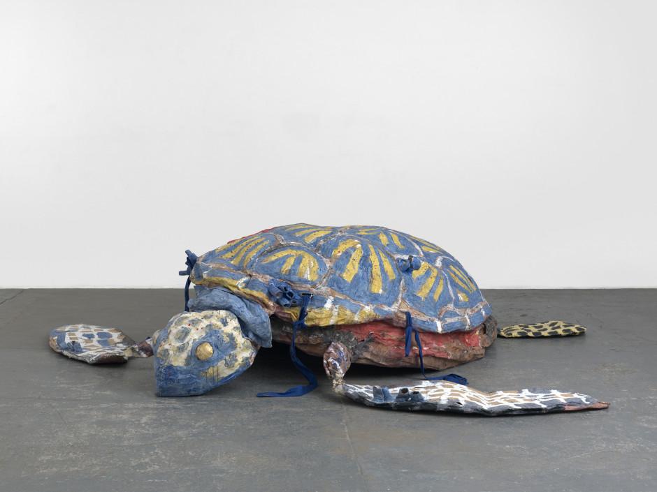Turtle, 2016  papier mache, latex, cardboard, fabric  85.0 x 369.0 x 350.0 cm 33 3/8 x 145 1/4 x 137 3/4 in.