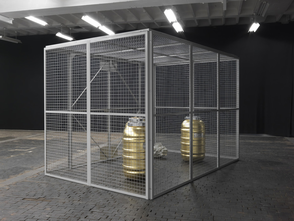 Quarantine, 2015  resin, steel, gold plated copper  244.0 x 244.0 x 366.0 cm 96 1/16 x 96 1/16 x 144 1/16 in.
