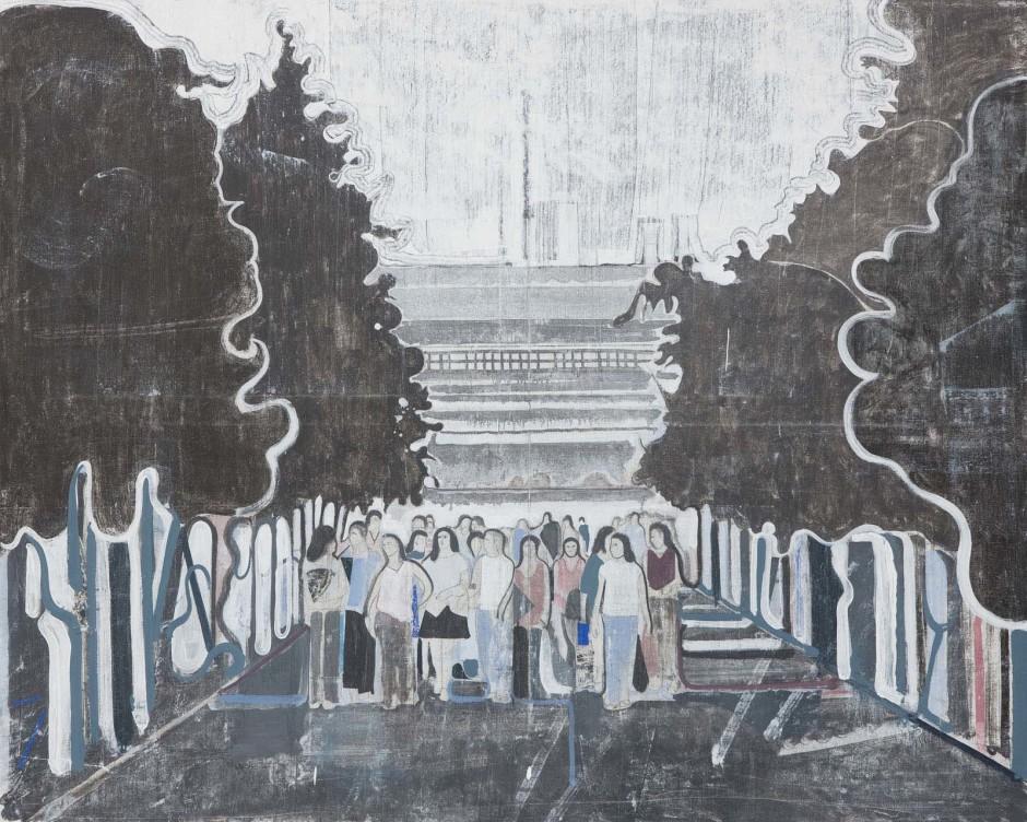 Untitled (students under black trees), 2008