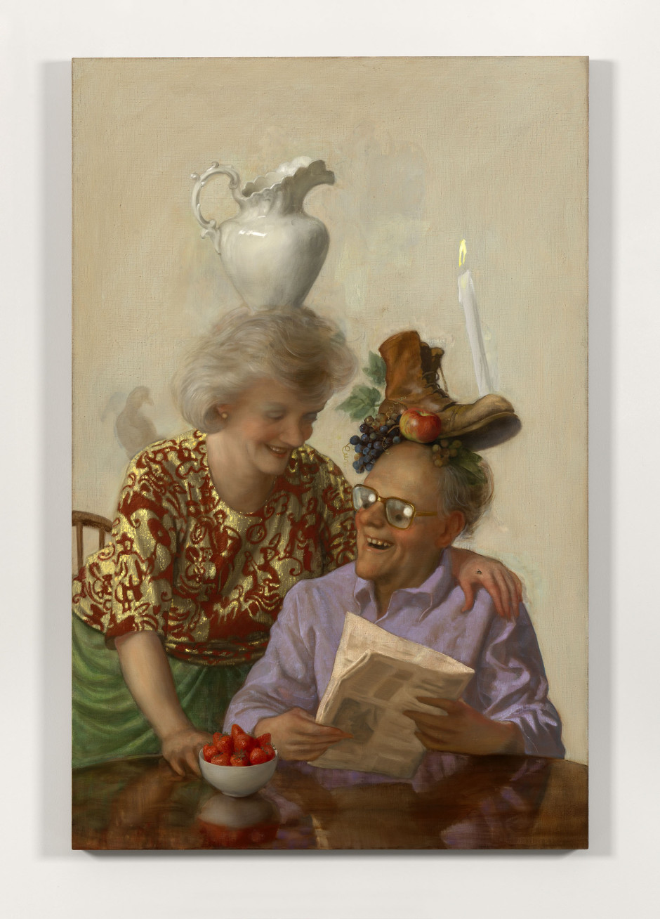 Newspaper Couple, 2016  oil on canvas  173.0 x 112.0 x 4.0 cm 68 x 44 x 1 1/2 in.