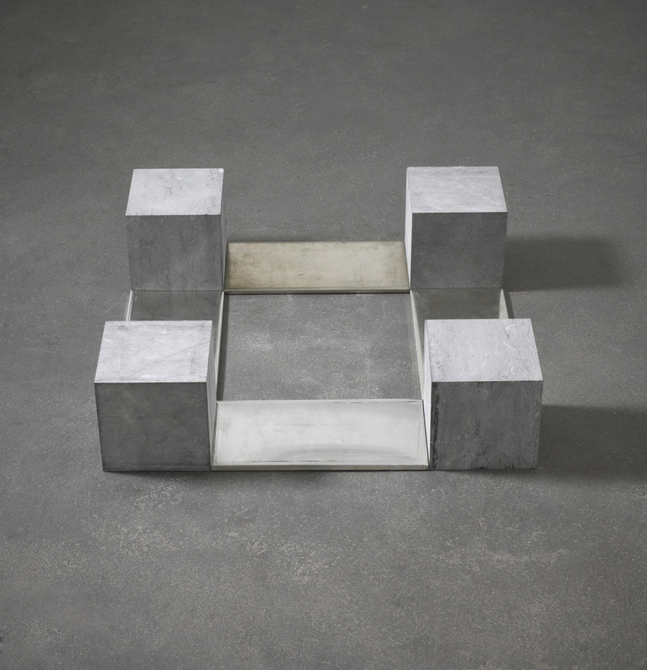 Belgica Tin Quad, Brussels 1990  pure tin and Belgian blue limestone  15.0 x 60.0 x 60.0 cm 5 7/8 x 23 9/16 x 23 9/16 in.