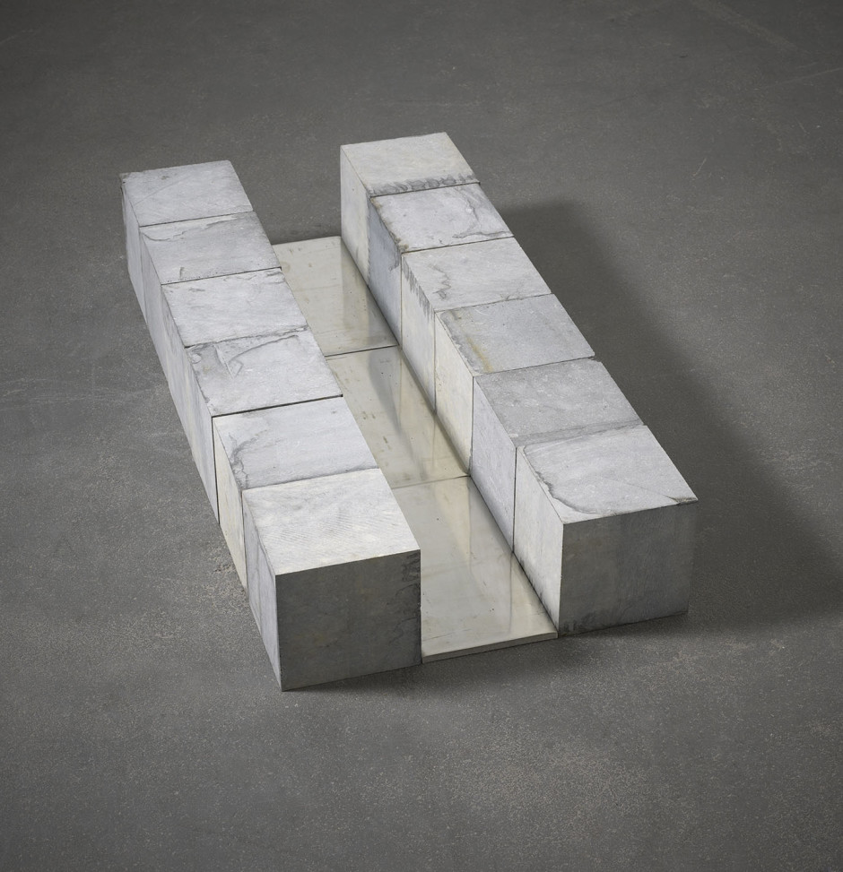 Belgica Tin Course, Brussels 1990  pure tin and Belgian blue limestone  15.0 x 45.0 x 90.0 cm 5 7/8 x 17 3/4 x 35 3/8 in.