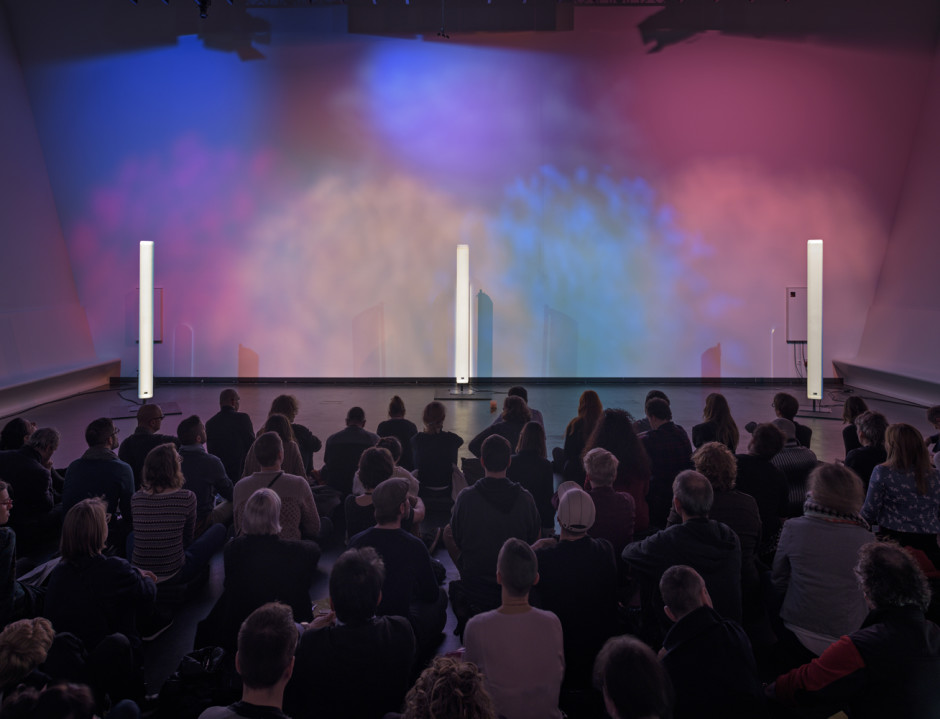Installation view, Florian Hecker, A Script For Machine Synthesis, Stedlijk Museum, Amsterdam, 28 February 2015