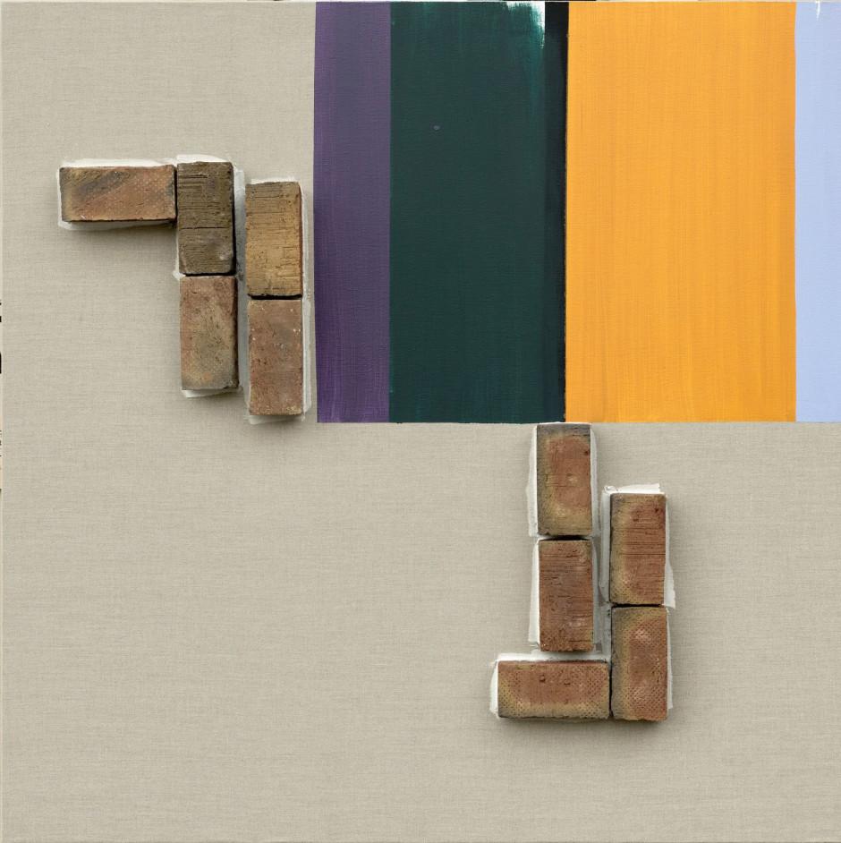 Ohne Titel / Untitled, 2017  bricks on canvas, acrylic  160 x 160 cm
