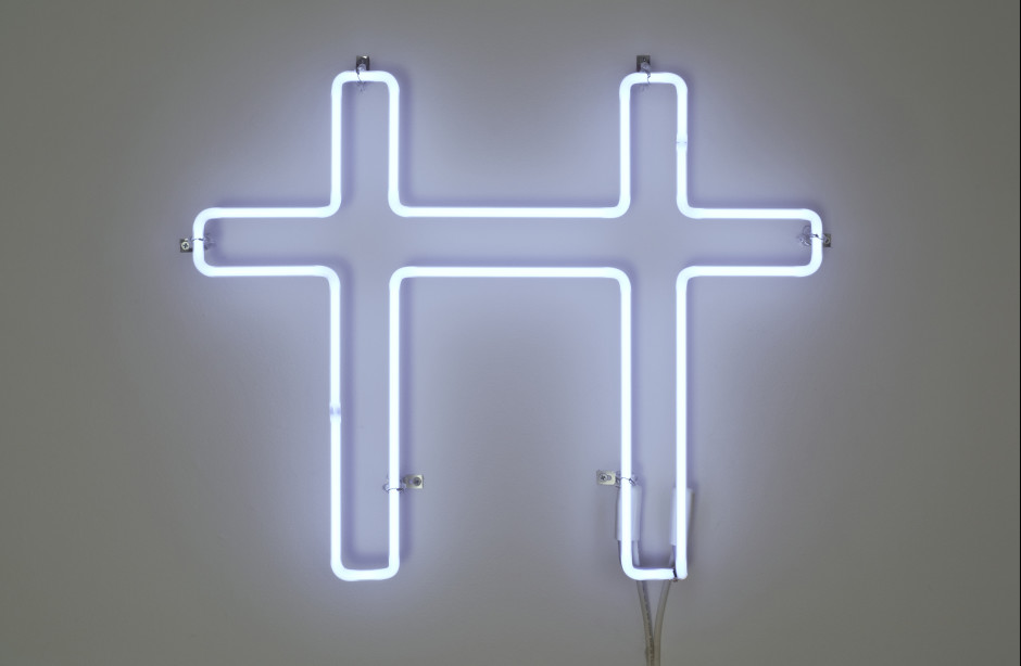 Neon Cross for Two, 2007  white neon  45.72 x 58.42 x 5.4 cm 18 x 23 x 2 1/8 in.