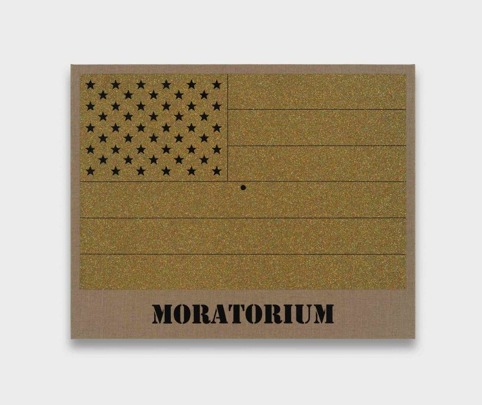 Moratorium (Gold Rainbow American Flag for Jasper in the Style of the Artist's Boyfriend), 2017  glitter and enamel on linen  57.0 x 71.5 x 3.5 cm 22 3/8 x 28 1/8 x 1 3/8 in.