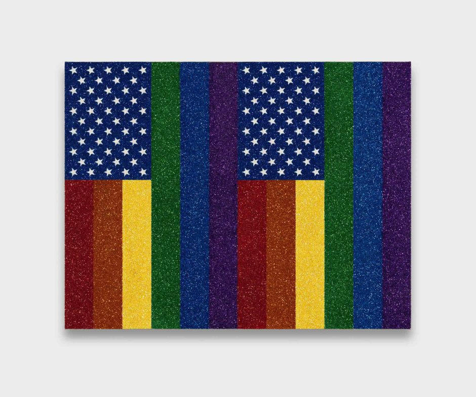 Two Rainbow American Flags for Jasper in the Style of the Artist's Boyfriend, 2017  glitter and enamel on linen  68.8 x 83.8 x 3.2 cm 27 x 33 x 1 1/4 in.