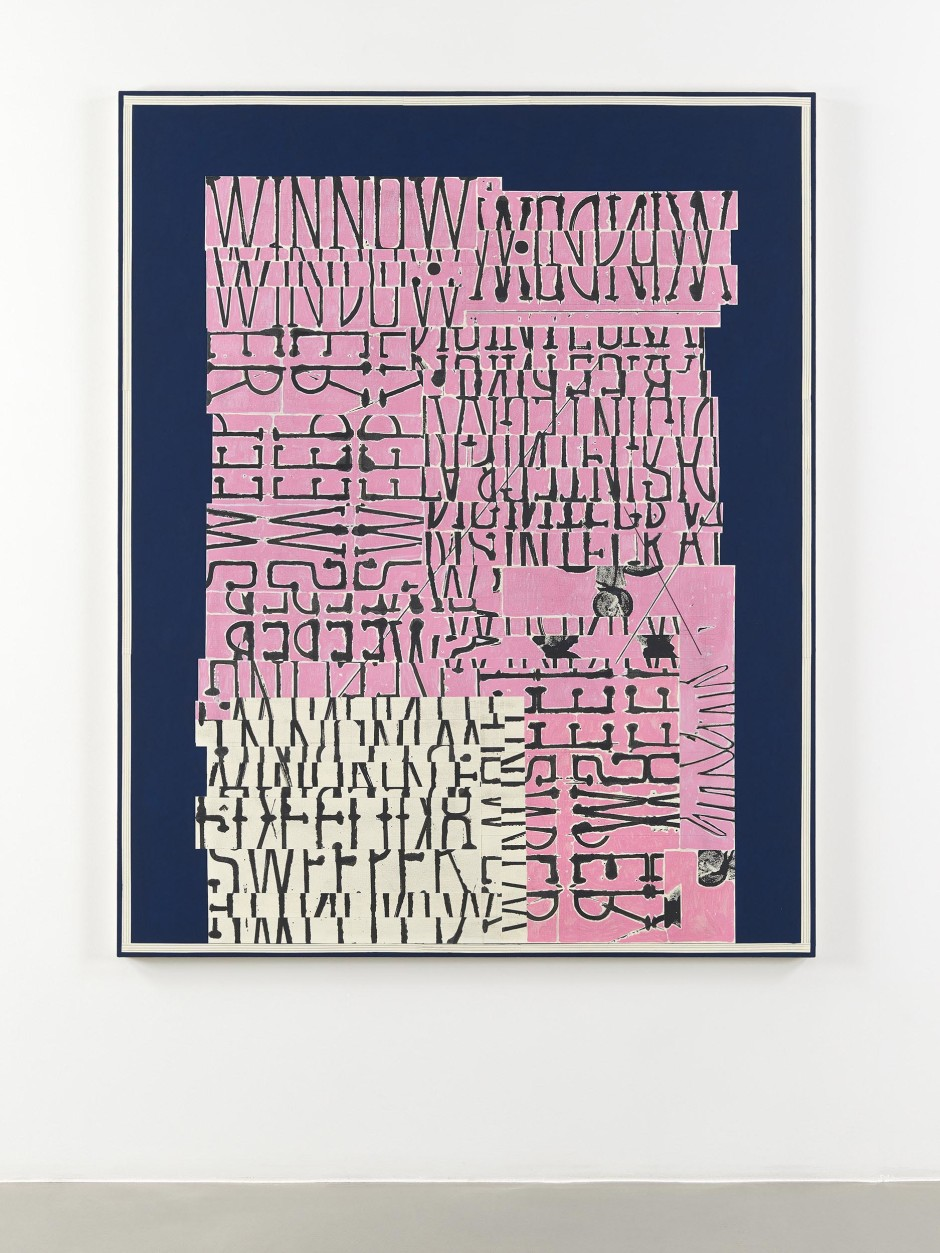 Word Painting (Sweeper), 2016  signed and dated on verso  Flashe, ink, pencil, paper on canvas  183.0 x 147.5 x 3.5 cm 72 x 58 x 1 3/8 in.