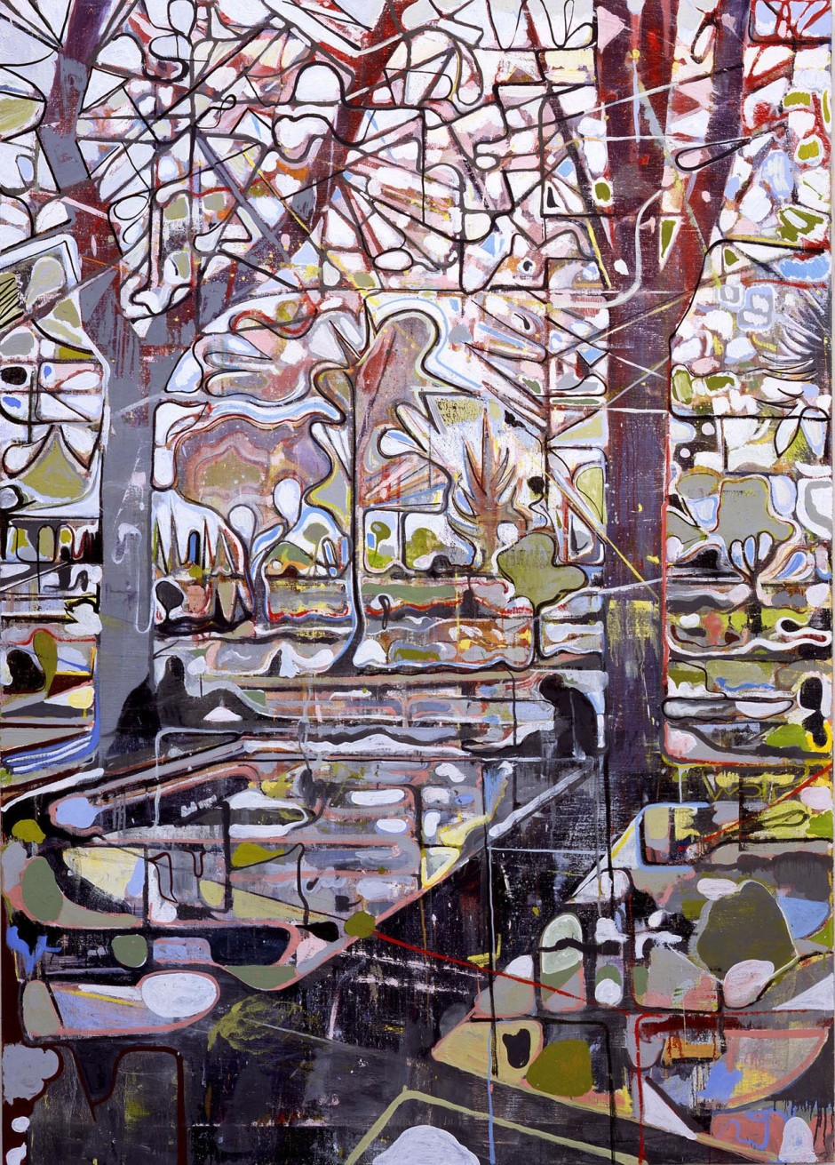 Untitled (Union Square Park, 2 figures), 2006  oil on linen  172.72 x 243.84 cm 68 x 96 in.