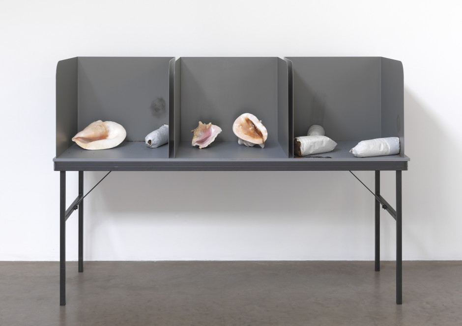 Untitled (Shells and Stubbed-out Cigarettes), 2011  Prototype voting table, shells, cigarettes  181.5 x 61.0 x 127.5 cm 71 1/2 x 24 x 50 1/4 in.