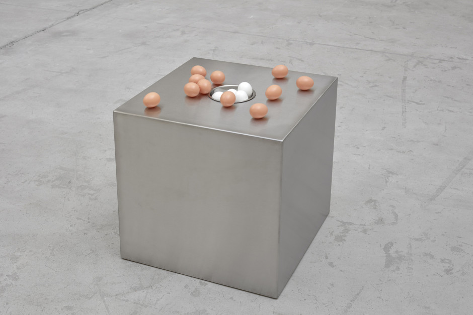 box for sort, 2017  stainless steel, plastic  54.3 x 50.0 x 50.0 cm 21 3/8 x 19 5/8 x 19 5/8 in.