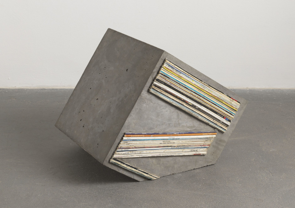 Sonic Reducer #34, 2008  cast concrete, record spines  38.0 x 50.0 x 36.0 cm 15 x 19 5/8 x 14 1/8 in.