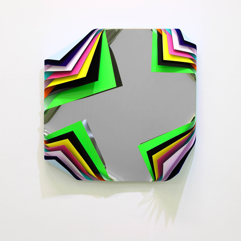 Metal Box (Honolulu), 2018  Signed, titled and dated on verso  Aluminium and polished steel sheets, gloss paint  80 x 80 x 23 cm  31 1/2 x 31 1/2 x 9 1/8 in.