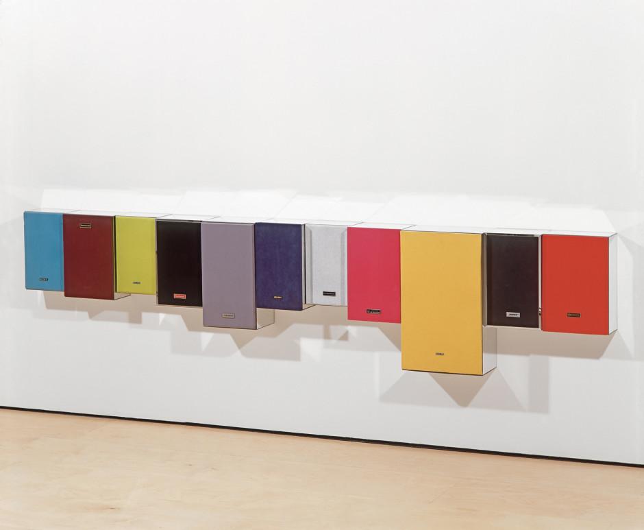 She's Lost Control, 2002  speakers, fabric, mirror Plexiglas  56.0 x 259.0 x 19.8 cm 22 x 102 x 7 3/4 in.