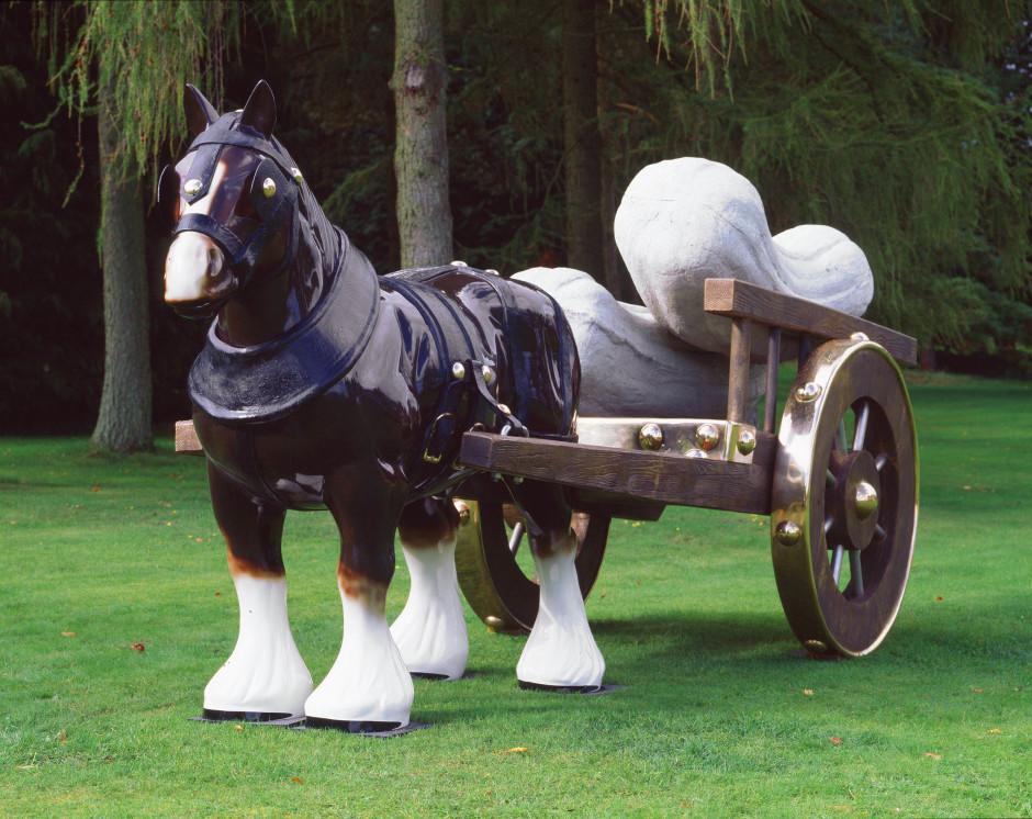 Perceval, 2006  bronze, concrete, paint  horse: 230 x 140 x 240 cm / 91 x 55 x 94 in cart: 140 x 180 x 250 cm / 55 x 71 x 98 in marrows (each): 65 x 65 x 200 cm / 26 x 26 x 79 in installed measurements: H: 230 cm x W: 183 cm x L: 548 cm (H: 90 1/2 x W: 72 x L: 215 3/4 in)