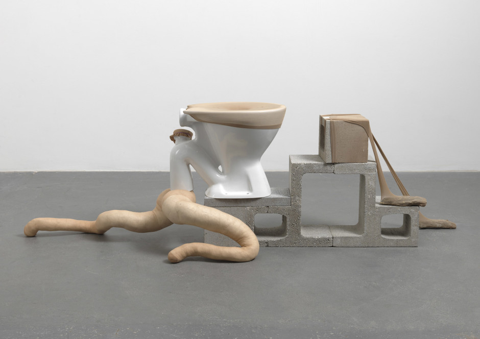 Bike, 2011  tights, fluff, wire, ceramic toilet, merino sheep jaw, stone, concrete blocks  64.0 x 69.0 x 208.0 cm 25 1/4 x 27 1/8 x 81 7/8 in.