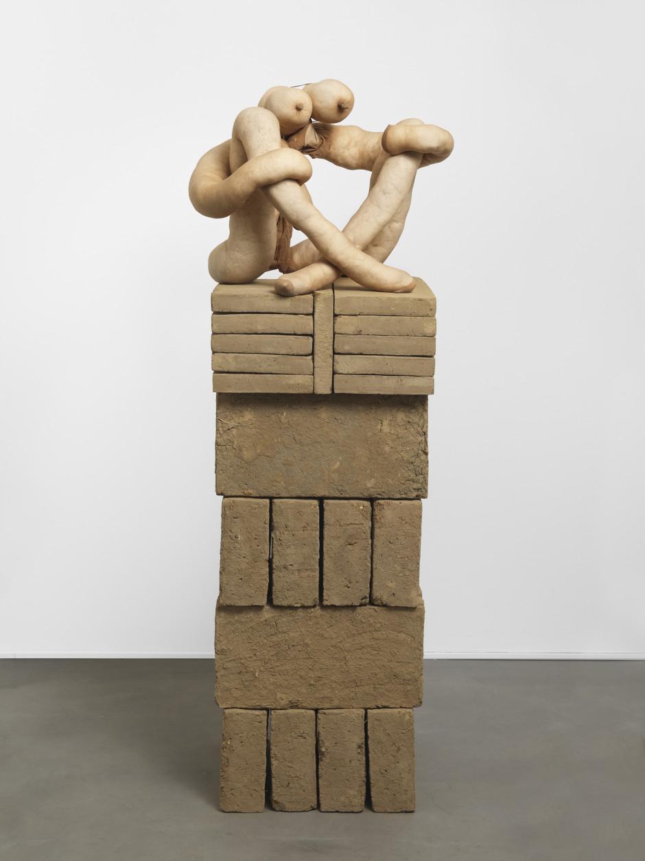 Hoolian, 2012  tights, fluff, wire, adobe bricks  47.0 x 62.0 x 58.0 cm 18 1/2 x 24 3/8 x 22 7/8 in.