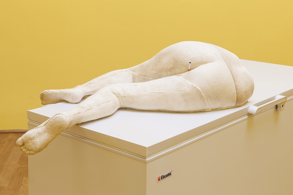 Margot , 2015  plaster, cigarette, freezer  116.0 x 202.0 x 87.0 cm 45 5/8 x 79 1/2 x 34 1/4 in.