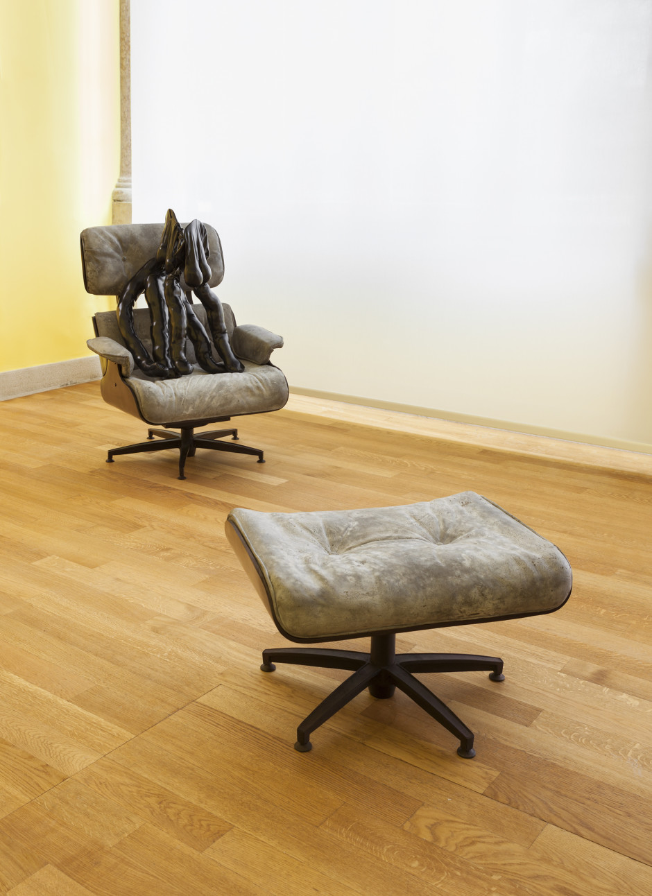 Tit-Cat Eames Chair, 2015  bronze, concrete  103.0 x 81.0 x 78.0 cm 40 1/2 x 31 7/8 x 30 11/16 in.