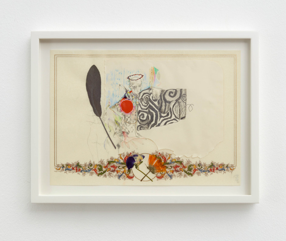 Untitled, 2017  coloured pencil, graphite, enamel and pressed leaves/flowers on paper  site size: 21 x 29.7 cm / 8 1/4 x 11 3/4 in frame size: 26.6 x35.3 x 3.2 cm / 10 1/2 x 13 7/8 x 1 1/4 in